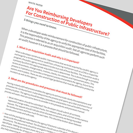 Are You Reimbursing Developers for Construction of Public Infrastructure?