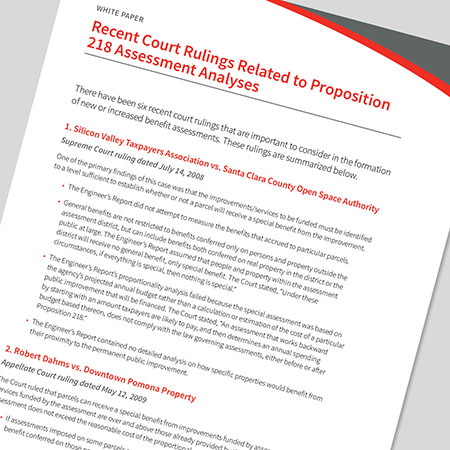 Recent Court Rulings Related to Proposition 218 Assessment Analyses