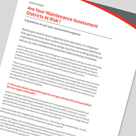 Are Your Maintenance Assessment Districts at Risk?