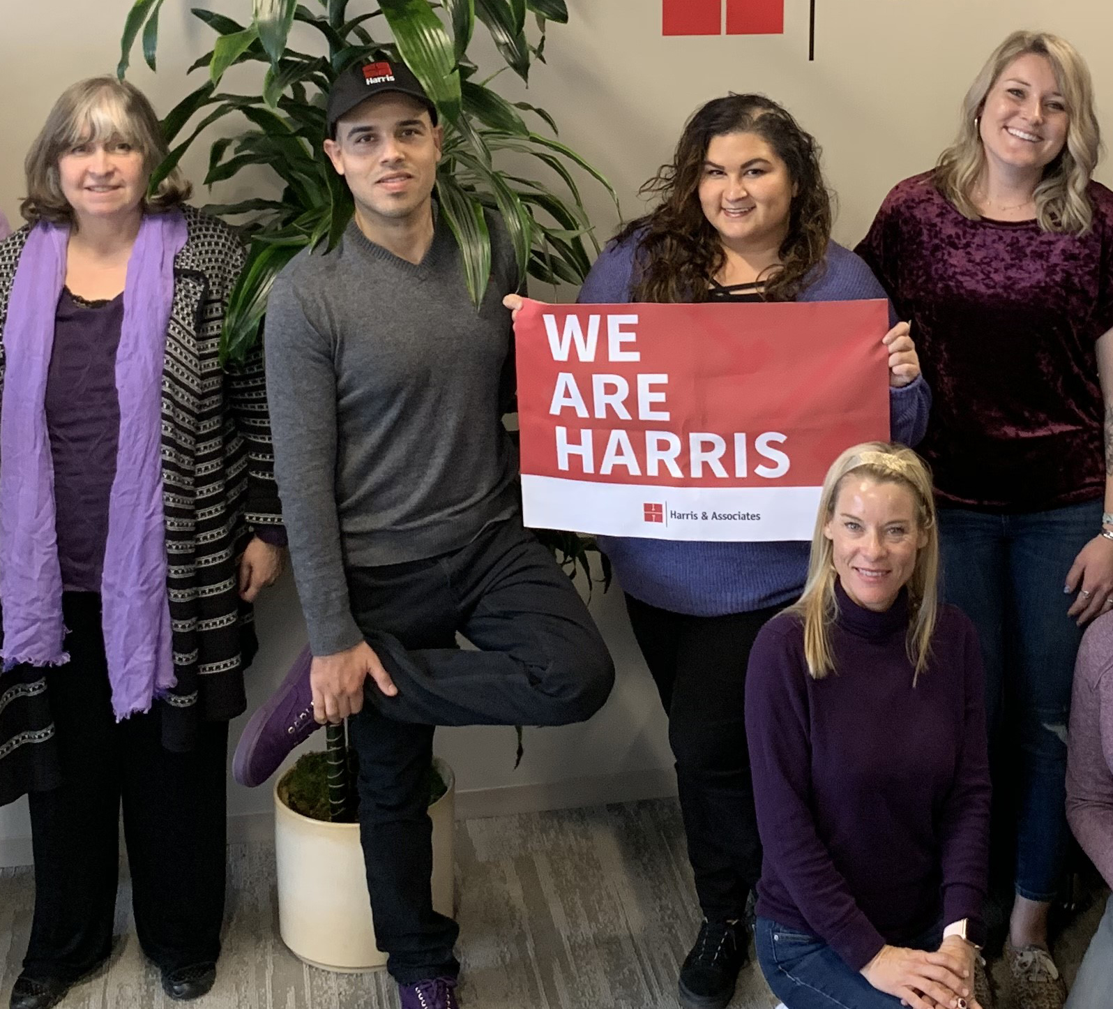 Harris employees donning the color purple to celebrate International Women's Day.