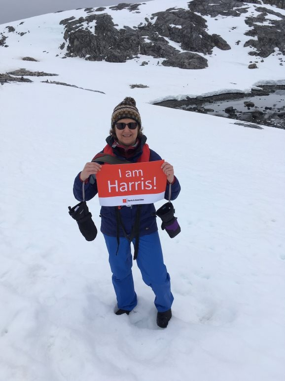 Harris employees send greetings from all over the world, even Antarctica.